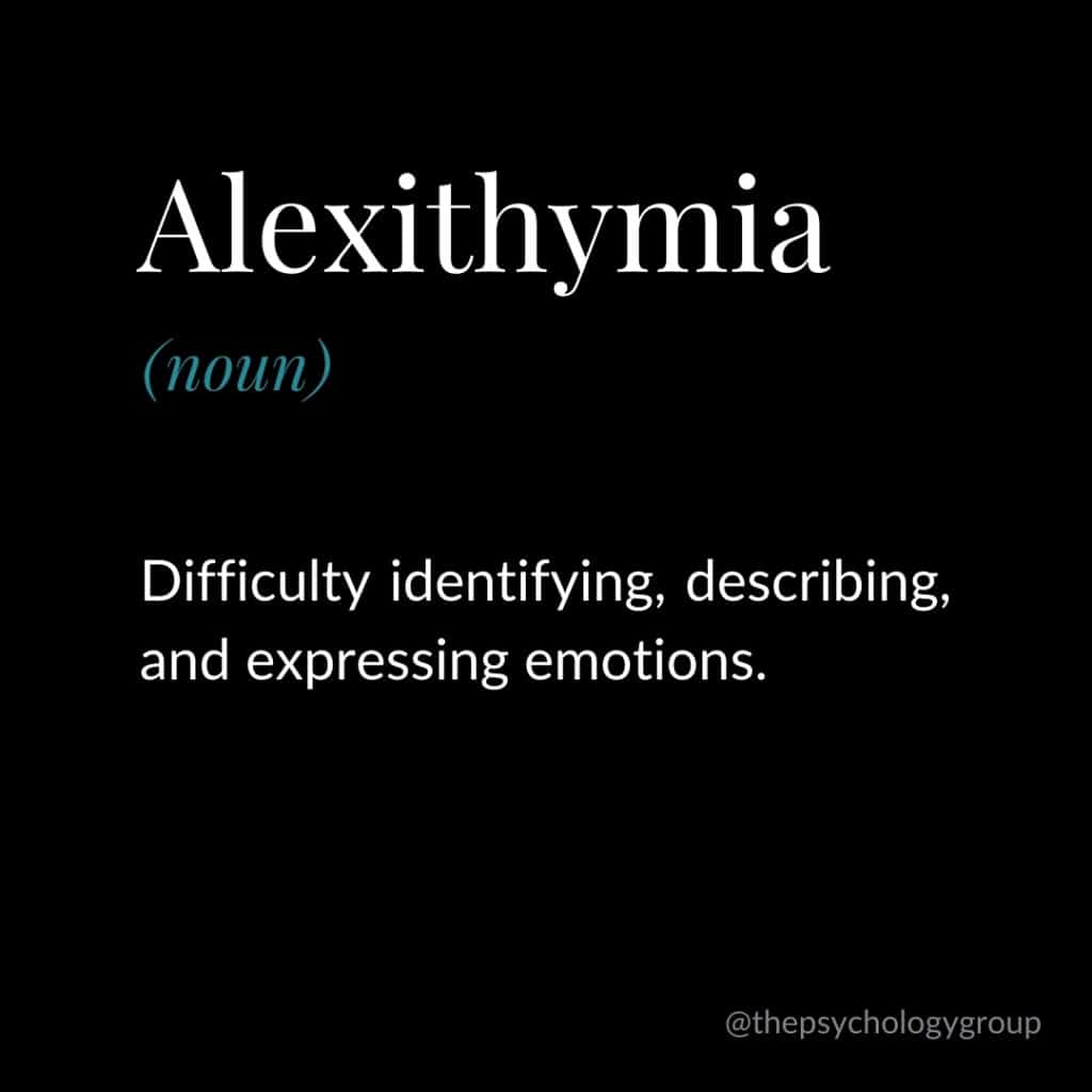 Definition of Alexithymia - Difficulty identifying, describing and expressing emotions.