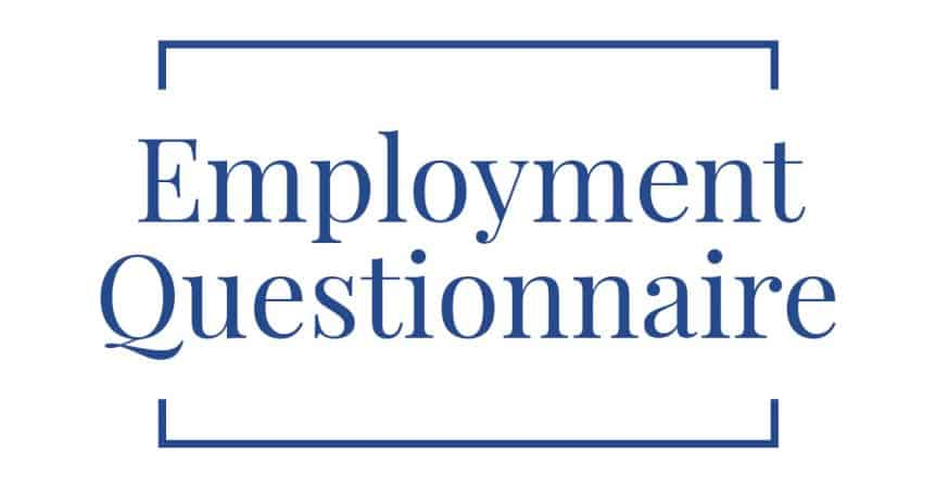 Employment Questionnaire from Therapists in Fort Lauderdale